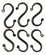 6 Wrought Iron 3 inch S Hooks - Hand Forged Hook Set with Scrolls AMISH USA - $22.97