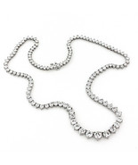 10.26Cts TW VS Graduated Diamond Tennis Necklace Solid 18K White Gold - $9,999.98