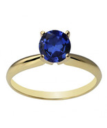 14k Solid Yellow Gold 6mm Round Created Blue Sapphire Solitaire Ring All... - $143.89+