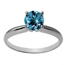 14k Solid White Gold 6mm Round Created Blue Topaz Solitaire Ring All Sizes - £117.20 GBP+