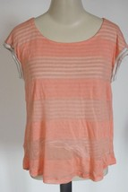 Splendid Women's Double Layer Stripe Tee STS17665N sz M shirt peach $78 ... - $16.03