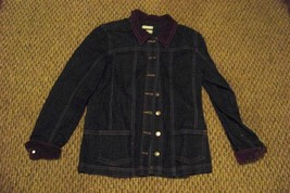 womens christopher & banks dark wash corduroy trim denim jeans jacket me... - $23.75