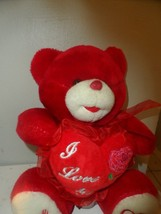 "Valentines Day 10"" Stuffed Red Plush Bear  Holding ""I Love You"" Heart - $7.87"