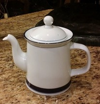 Dansk Concerto Allegro Coffee Tea Pot 6 Cup White with Blue Bands Portugal - $39.55