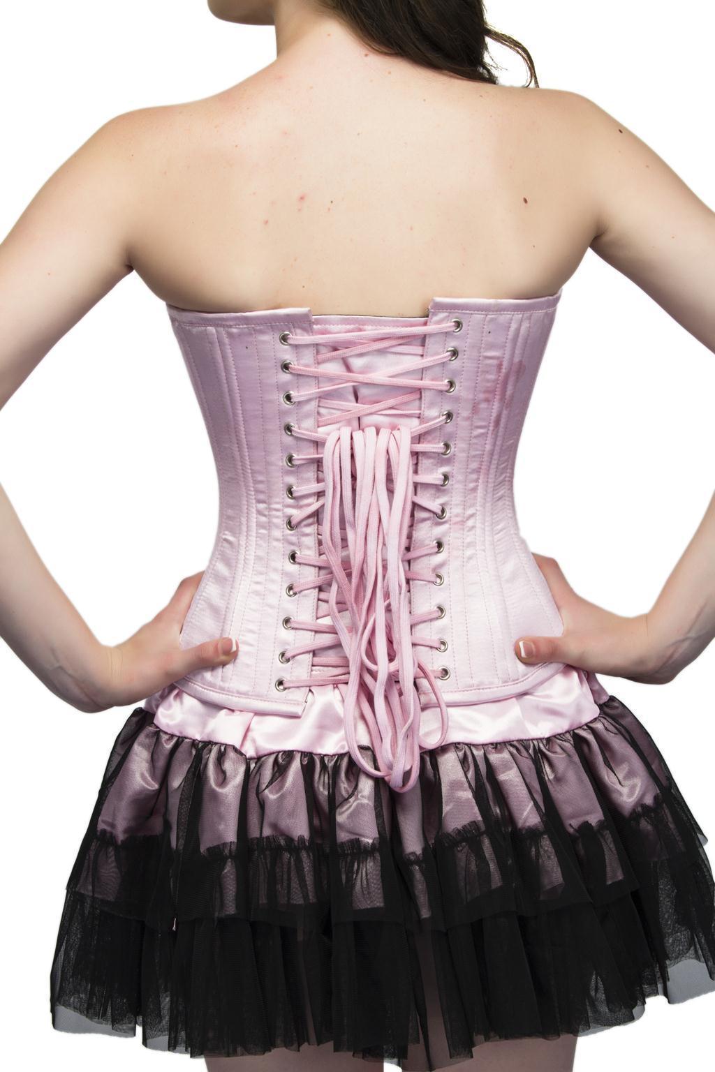 Baby Pink Satin Double Bone Overbust Top Tutu Skirt PLUS SIZE Corset Prom Dress