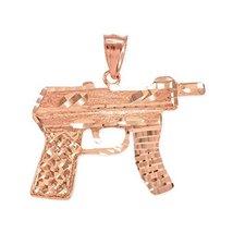 10k Rose Gold AK-47 Machine Pistol Gun Diamond-cut Pendant - $199.99