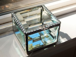 """A DAZZLING 3""""x3""""x2"""" RING BEARER BOX ENTIRELY OF SPARKLING CLEAR BEVELED ... - $29.65"""
