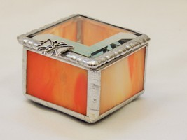 A STAINED GLASS RING BEARER BOX OF ORANGE & GOLD OPAL, A CLEAR BEVELED G... - $24.70