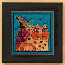 Feathered Friends Cat Collection aida cross stitch kit Laurel Burch Mill... - $16.20