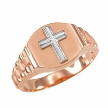 10k Rose Gold Cross Ring Men's Size 6-16 (15.25) - $219.99