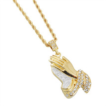 """Iced Out Hip Hop 14kt Gold Tone Stardust Praying Hands Big Stone 24"""" Rop... - $14.95"""