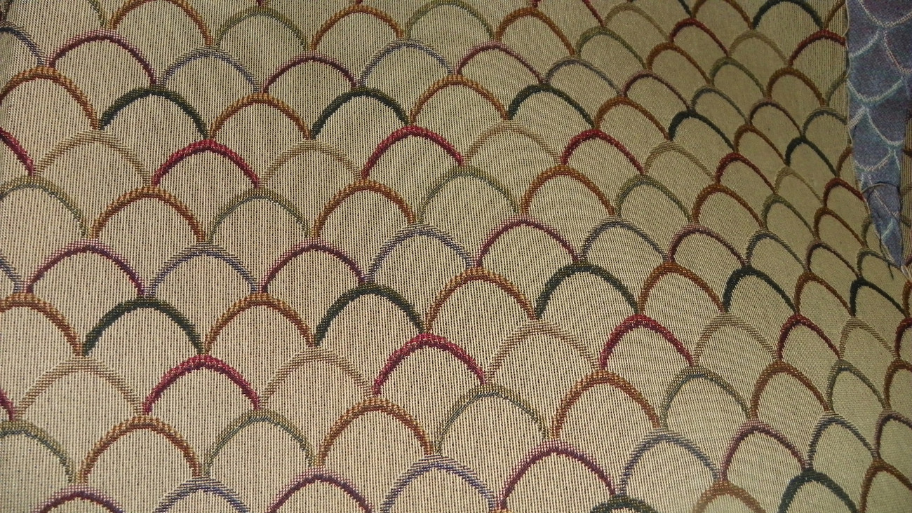 Beige Burgundy Gold Contemporary Print Upholstery Fabric Remnant  F787