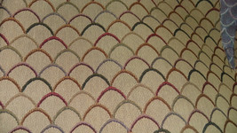 Beige Burgundy Gold Contemporary Print Upholstery Fabric Remnant  F787 - $19.95