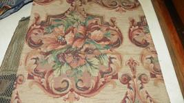 Beige Burgundy Green Flower Print Jacquard Upholstery Fabric  1 Yd - $19.95