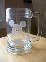 Disney Mickey Mouse Clear Glass Stein  - $14.00