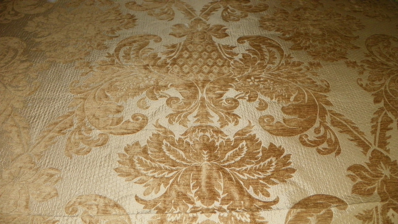 Gold Victorian Leaf Print Upholstery Fabric 1  Yard  R775