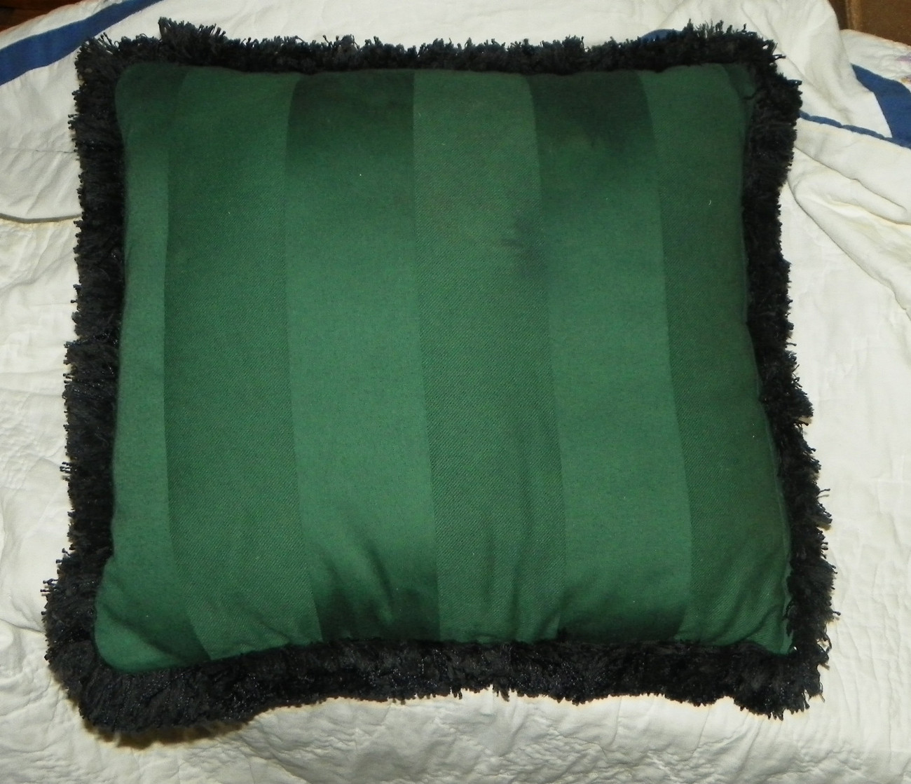 Green Christmas Carolers Black Fringed Throw Pillow