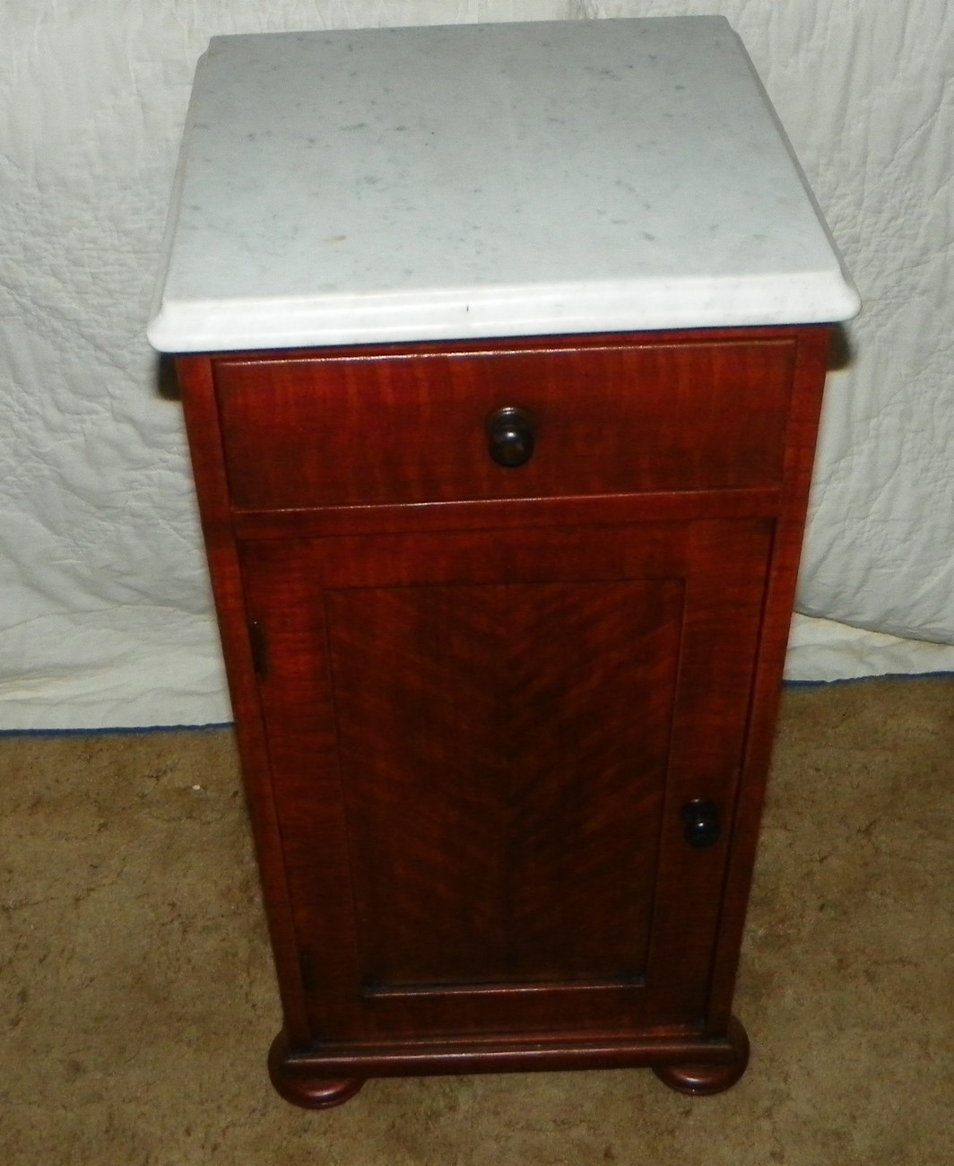 Hand Painted Faux Tiger Cherry Finish Marble Top Half Commode or Nightstand