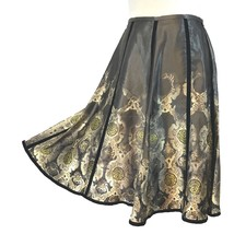 APOSTROPHE 4 Skirt A Line Flare Gold Brown Oriental Velvet Detail Pretty - $24.17