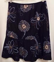 Ann Taylor Skirt Sz 6 Black Blue Floral A-line Flounce Hem Gorgeous Embroidery - $21.03