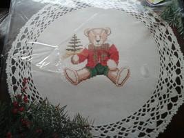 1997 Bucilla Counted Cross Stitch Needles N Hoops Doily Decor Holiday Teddy 1129 - $12.86