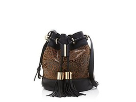 see by chloe vicki leopard animal print bucket shoulder bag - $265.05