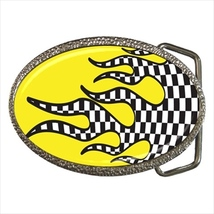 Checkered Flames Belt Buckle - $19.95