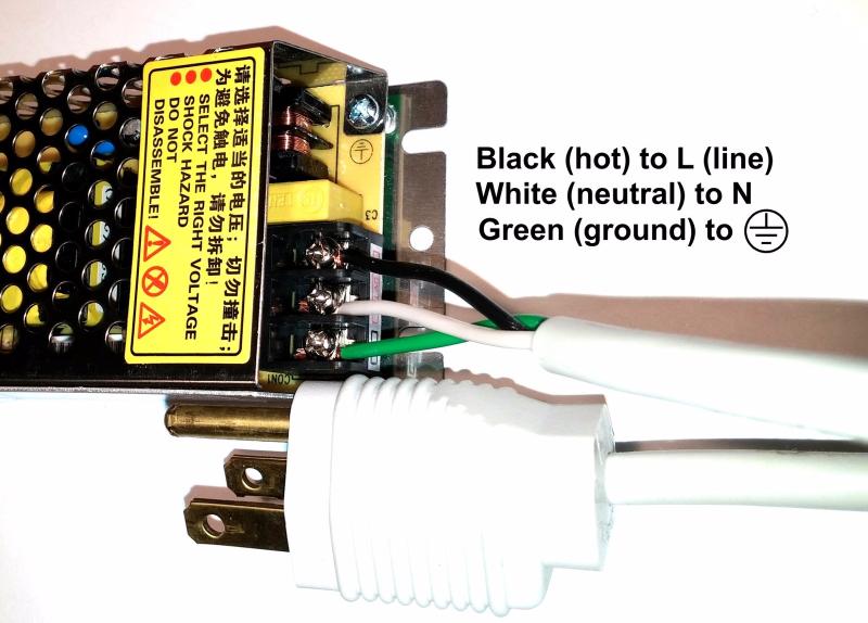 Kit: 25W Switching Power Supply + 4' LED Strip, Bright White, Hi-lumen
