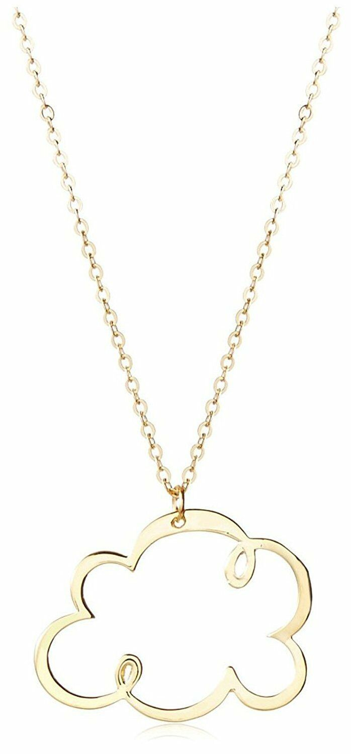 "USA Made ECRU 15.75"" Gold metal Cloud Pendant Necklace"