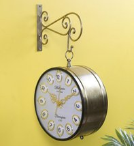 Gold Wrought Iron 12 Inch Dial Double Sided Victoria Platform Clock - $380.00