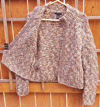The Limited Hand Knit Sweater-M-98% Wool-Chunky-Tan/Blue-Cardigan-Snap B... - $28.97