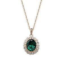 Ladies White Gold Plated Copper Oval Emerald Cr... - $33.95