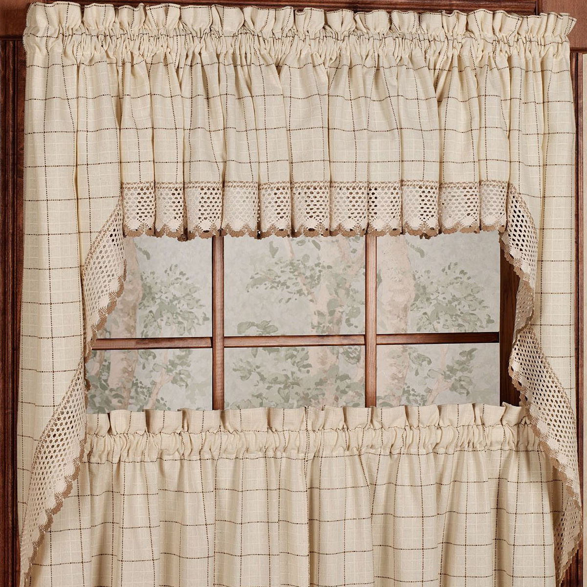 Adirondack cotton kitchen window curtains toast tiers for Valance curtains for kitchen