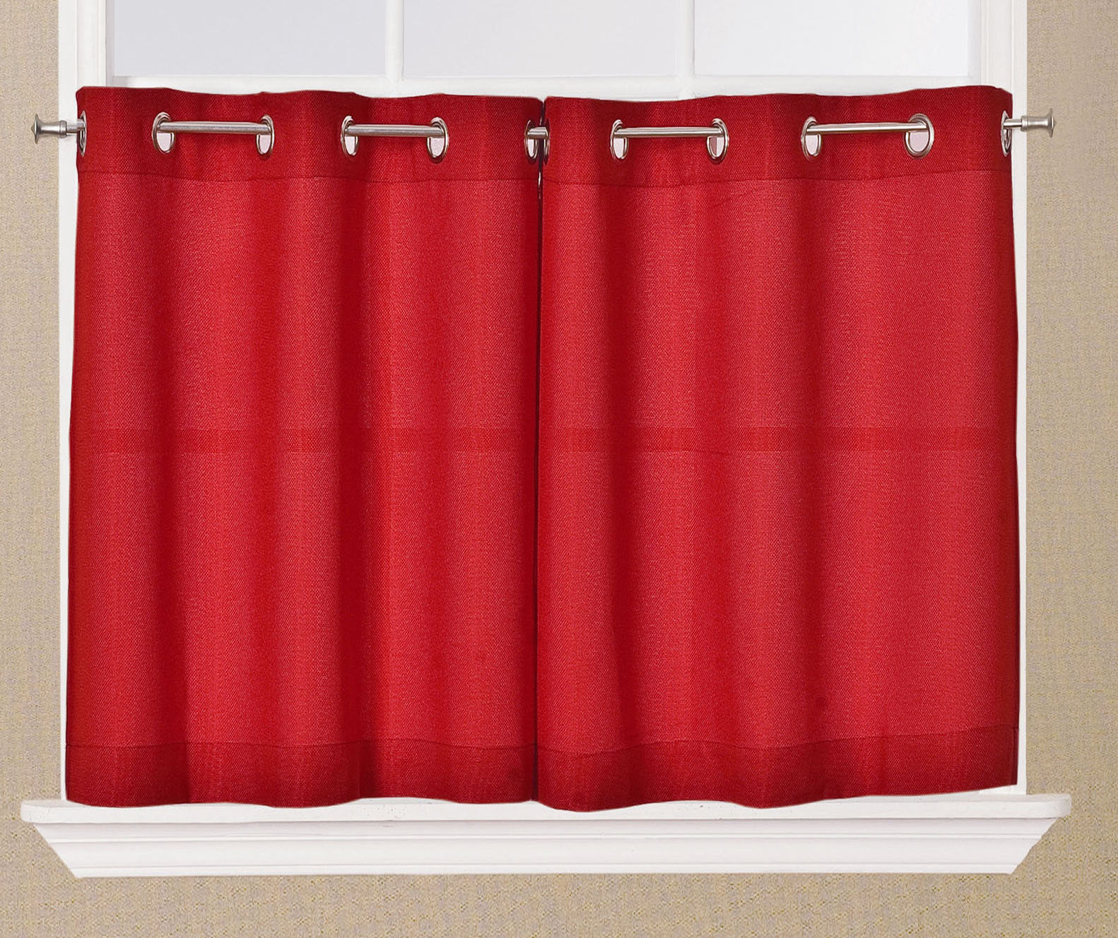 Jackson textured solid red kitchen curtain choice tiers or for Valance curtains for kitchen