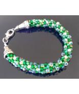 """6 1/4"""" +  Kelly Green Seed Beaded Woven Bracelet   - $29.99"""
