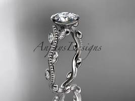 14k white gold diamond leaf and vine wedding ring, engagement ring ADLR33 - $1,035.00