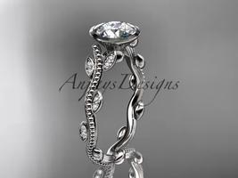 14k white gold diamond leaf and vine wedding ring, engagement ring ADLR33 - $1,035.00