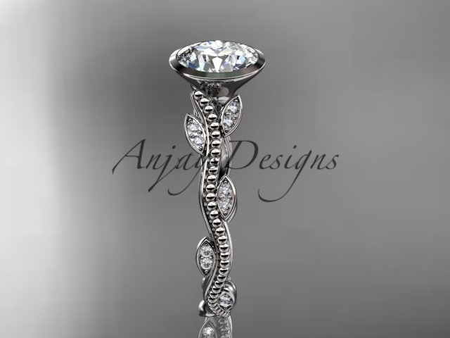 14k white gold diamond leaf and vine wedding ring, engagement ring ADLR33