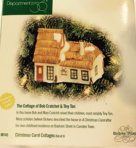 The Cottage of Bob Cratchet & Tiny Tim Department 56 Lighted Christmas Ornament