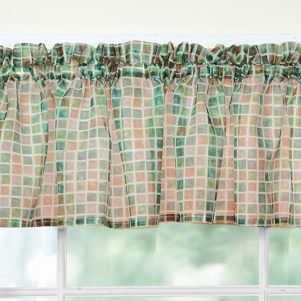 tiles block print beige black sheer voile kitchen curtains. Black Bedroom Furniture Sets. Home Design Ideas