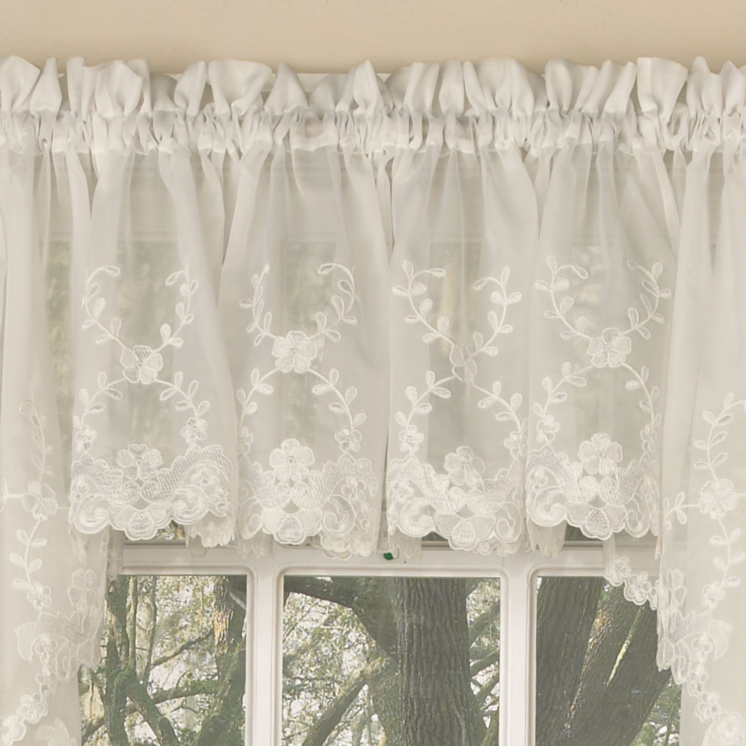 Laurel leaf sheer voile embroidered ivory kitchen curtains for Valance curtains for kitchen