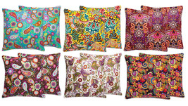 "Paisley Floral Cotton Canvas Throw Pillow 18"" x... - $33.29"