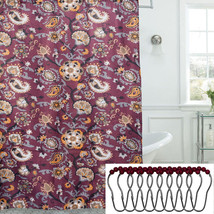 Floral Paisley Print 13 Piece 70 x 72 Shower Curtain and Roller Hooks Set - $17.99