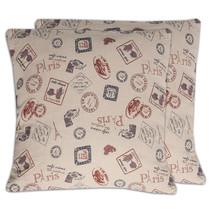 "Paris Cafe Stamps Print Decorative Cotton Canvas Throw Pillow 18"" x 18"" ... - $627,30 MXN"