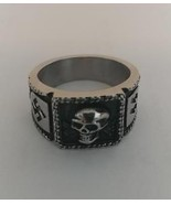 1 DELUXE SKULL HEAD LIGHTNING BOLTS STAINLESS STEEL BIKER RING - $12.99
