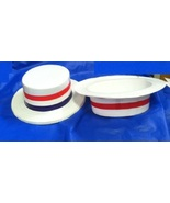 12 pack POLITICAL EVENT VOTE HATS SKIMMER PLASTIC RED,WHITE AND BLUE ADU... - $15.00