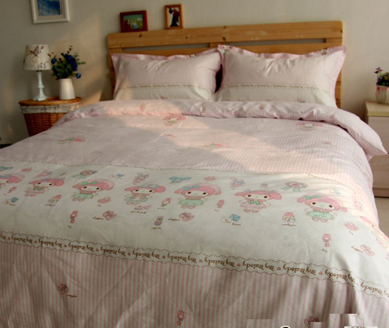 ... MY MELODY PINK Color QUEEN SIZE DOUBLE BED SHEET SET 4 PCS Cotton Bedding  Set