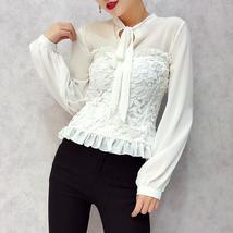 ALPHALMODA Slim Fit Faux 2pcs Shirts Long-sleeved Bow Collar Lace Patchw... - $45.84