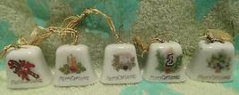 Set of 5 Vintage Merry Christmas BELLS ornaments Japan marked - $8.59