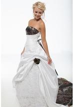Strapless Ball Gown Plus Size White Satin Lace Wedding Dress Camo - $169.90